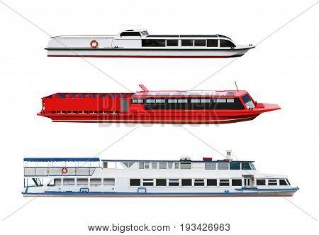 Set of passenger motor ships and boats isolated on white backround