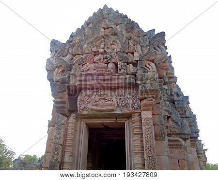 The Lintel of Reclining Pra Narai above the entrance to the central sanctuary of Prasat Hin Phanom Rung Ancient Khmer Temple, Buriram Province of Thailand