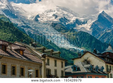 Chamonix Mont Blanc France. City and the Scenic View. Mont Blanc Massif and the Glaciers.