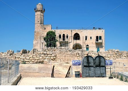 NABI SHMUEL ISRAEL - JUNE 25 2017: Tomb of the biblical prophet Samuel near Jerusalem. Inscription: a place for lighting candles