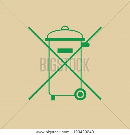 Not Into Rubbish Sign Garbage Crossed Green Logo Web Icon Vector Illustration