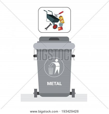 Rubbish Container For Metal Waste Icon Recycle Sorting Garbage Concept Logo Vector Illustration