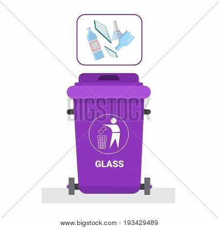 Rubbish Container For Glass Waste Icon Recycle Sorting Garbage Concept Logo Vector Illustration