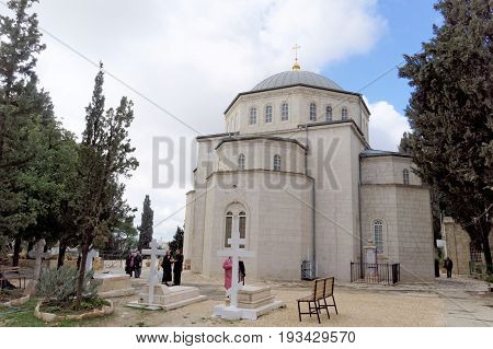 Jerusalem Israel. - February 15.2017. Savior of the Ascension Convent of the Russian Orthodox Church in Jerusalem. The Mount of Olives. Church of the Ascension in Jerusalem