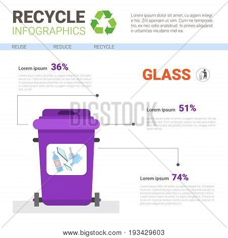 Rubbish Container For Glass Waste Infographic Banner Recycle Sorting Garbage Concept Vector Illustration