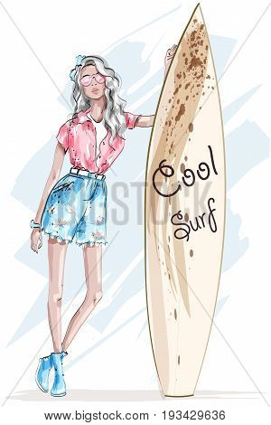 Beautiful blonde girl with surfboard. Sketch. Pretty sport girl. Fashion woman. Vector illustration.