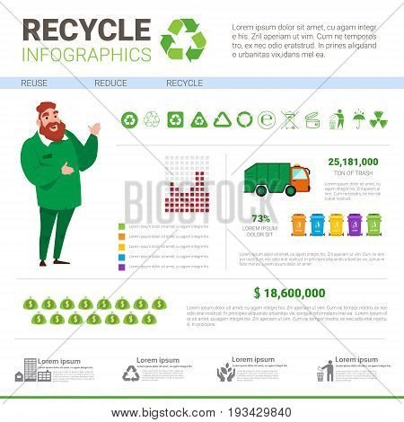 Recycle Infographic Banner Waste Truck Transportation Sorting Garbage Concept Vector Illustration