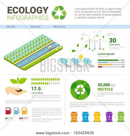 Ecology Rubbish Container For Sorting Waste Infographic Banner Recycle Garbage Concept Vector Illustration