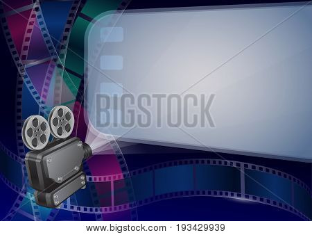 Vector illustration for the cinema - Movie projector and movie screen and cine-film on colorful background