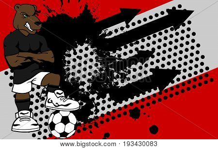 strong sporty bear soccer player cartoon background in vector format