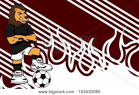 strong sporty lion soccer player cartoon background in vector format