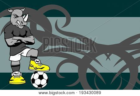 strong sporty rhino soccer player cartoon background in vector format