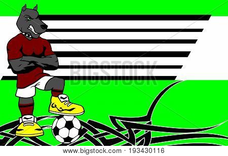 strong sporty dog soccer player cartoon background in vector format