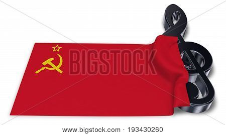 clef and flag of the soviet union - 3d rendering