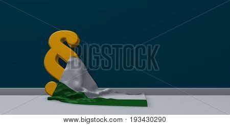 paragraph symbol and flag of saxony - 3d rendering