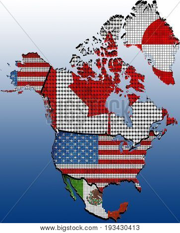 Map of North America with Countries with effect - 3D Illustration,  North America map colored in with their flag