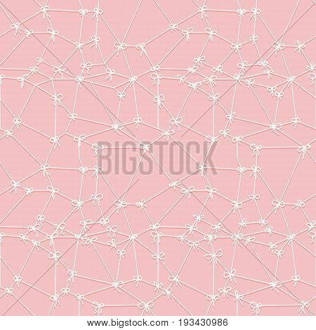 Seamless texture of grid of white threads with small bows on pink background. Lace pattern. Vector illustration.