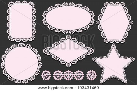 Pattern brush and set of lace napkins in different forms. Pink lacy doilies elements isolated on gray background. Vector illustration.