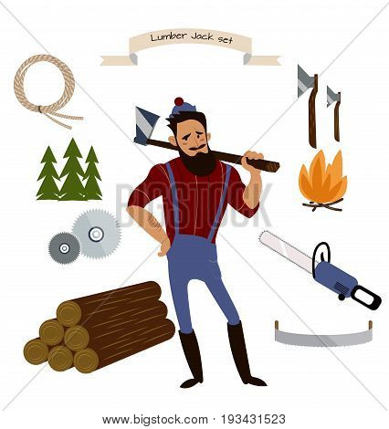 Lumberjack, timber and woodworking tools vector icons