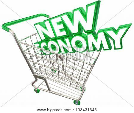 New Economy Shopping Cart Digital Selling Service Based 3d Illustration