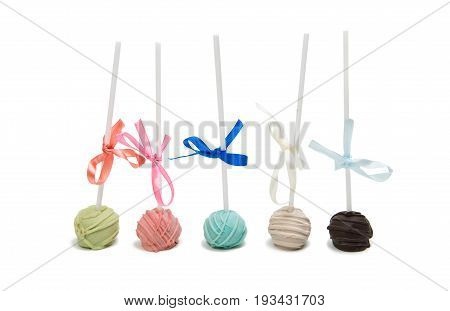 Cake Pops sweet-stuff on a White Background