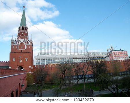 Troitskaya Tower and Palace of Congresses of Moscow Kremlin in Moscow Russia