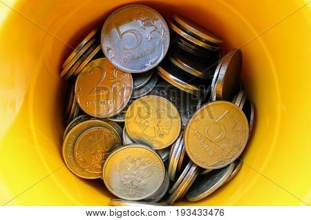 Box of coins (russian rubles). The colour version.