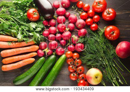 Fresh Vegetables. Colorful Vegetables Background. Healthy Vegetable . Assortment Of Fresh Vegetables