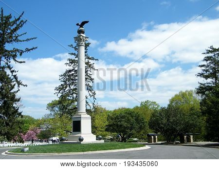Arlington, USA - April 9, 2010: Spanish-American Memorial in Arlington National Cemetery.
