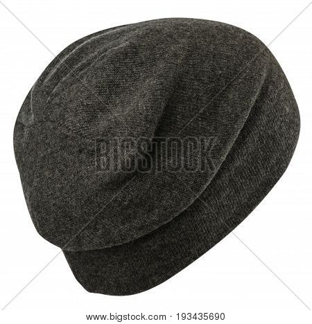 Hat Isolated On White Background .knitted Hat .dark Grey Hat