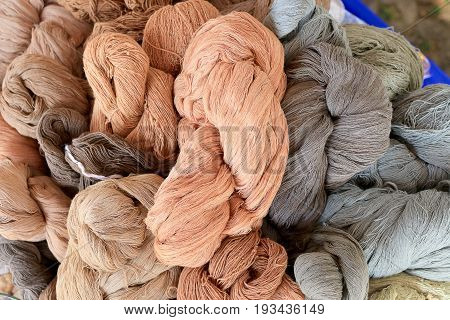Colorful Thai Silk Fabric Thread From Natural Color Material For Woven Silk Handicraft Thai Style In