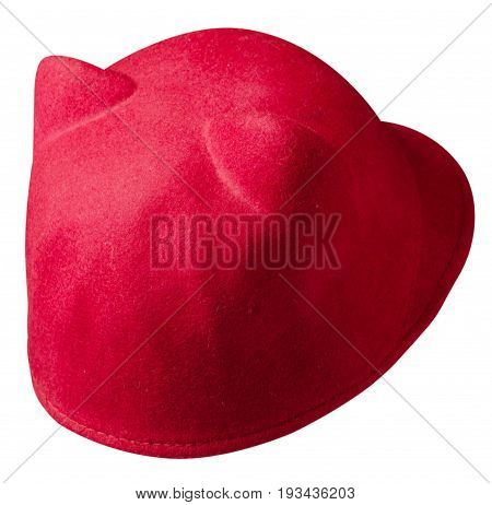 Women's Hat Felt Isolated On White Background .fashion Hat Fel.red Hat