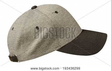 Sports Cap Isolated On A White Background .gray Cap With Black Viso