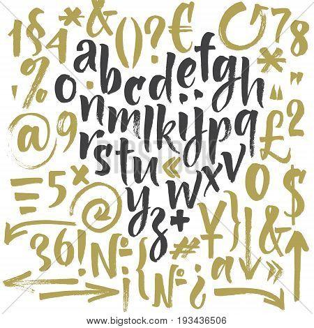 Handwritten script font. Brush font. Lowercase, numbers, punctuation