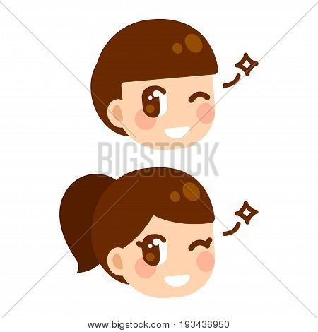Cute anime children winking boy and girl character face. Manga style cartoon illustration.