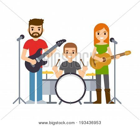 Indie rock band male and female singers with guitars and drummer. Cute cartoon vector musicians illustration.