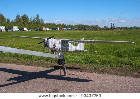 Pushkin, Russia - June 5, 2017: An unmanned reconnaissance aircraft. Was part of the airshow exposition at the airport of Pushkin. This aircraft has a propeller engine and a take-off catapult.