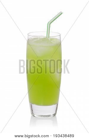 Iced cold cactus drink or nopales agua fresca against a white background.