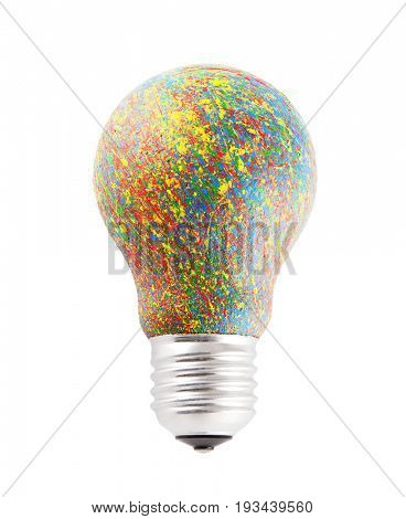 Colorful painted bulb isolated on white with clipping path