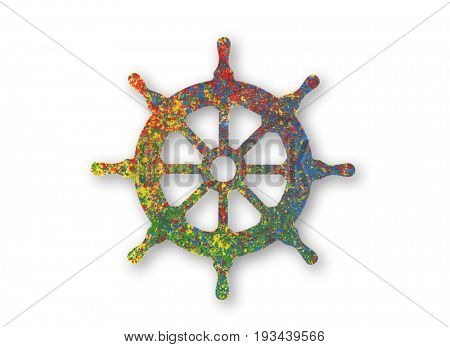 Colorful painted rudder symbol