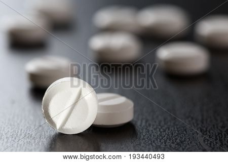 White Medical Pills   Drug Treatment Medication. Health. Pharmacy  Copy Space