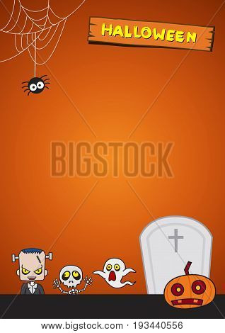 Halloween Background. Vector Illustration. Flat Halloween Icons with Square Frame. Trick or Treat Concept. Ghost and Frankenstein, Orange Pumpkin and Spider Web, Skull and Crossbones.