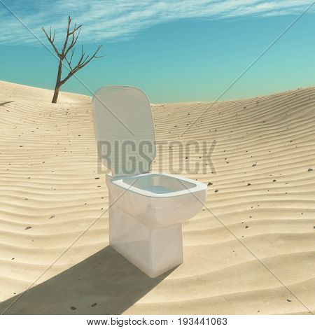 Toilet situated in the desert. This is a 3d render illustration
