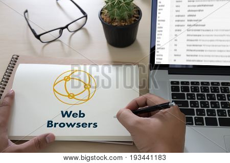 Browser Http Man Use Computer Web Browsers Online Networking Connection Technology Digital