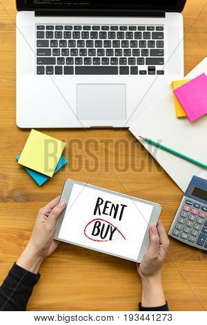 Buy Not Rent  Concept. Choosing Buying Over Renting