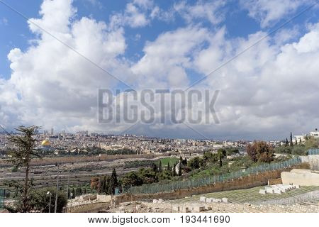 Jerusalem, Israel. - February 15.2017. View Of The Old Town From The Top Of The Mount Of Olives. Old