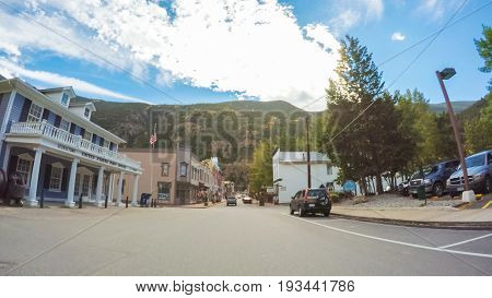 Georgetown Colorado USA-September 22 2016. POV point of view - Driving through historical Georgetown in the Autumn.