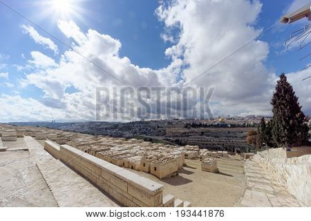 Jerusalem Israel. - February 15.2017. View of the old town from the top of the Mount of Olives. Old Jewish cemetery