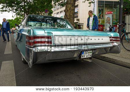BERLIN - JUNE 17 2017: Vintage car Chrysler New Yorker 1967. Rear view. Classic Days Berlin 2017.