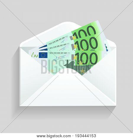 Open envelope and 100 euro bills cash